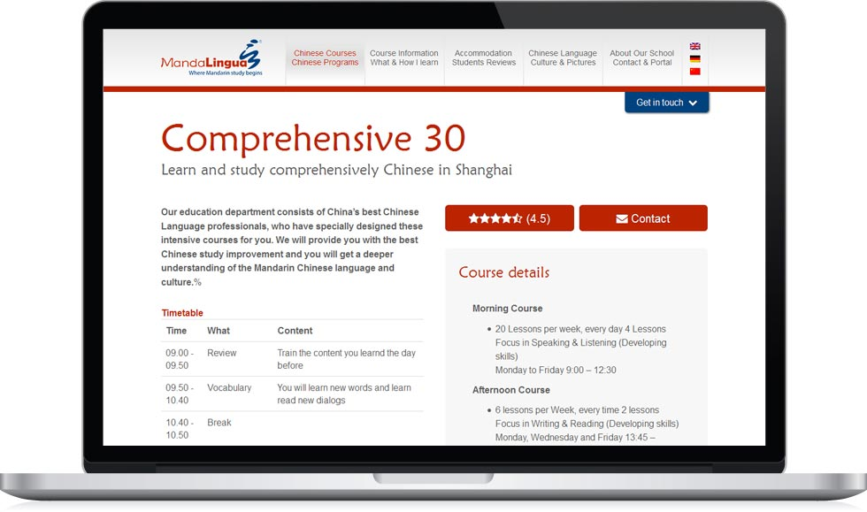 MandaLingua - course page