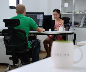 Close up two people in Shanghai office